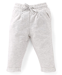 Fox Baby Solid Color Turn-Up Hem Track Pants - Off White