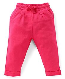 Fox Baby Solid Color Turn-Up Hem Track Pants - Fuchsia