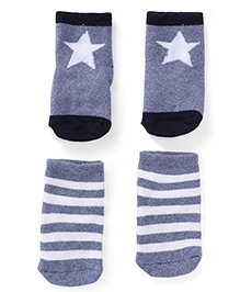 Fox Baby Star Printed And Striped Set Of 2 Socks - Blue