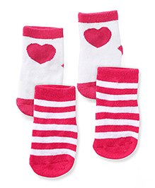 Fox Baby Printed And Striped Set Of 2 Socks - Fuchsia & White