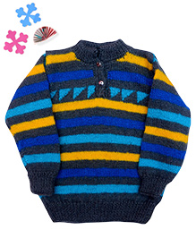GoCuddle By Jasleen Sweater For Boys - Grey Blue & Yellow