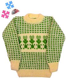 GoCuddle By Jasleen Sweater For Boys - Cream & Green