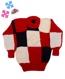 GoCuddle By Jasleen Sweater For Boys - Red White Black