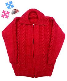 GoCuddle By Jasleen Zipper Sweater For Boys - Red