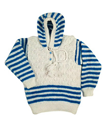 GoCuddle By Jasleen Hoodie Sweater For Boys - Blue & White