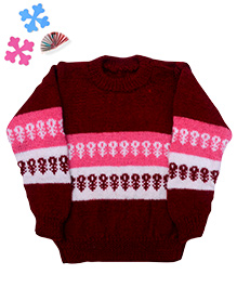 GoCuddle By Jasleen Sweater For Boys - Maroon Pink & White