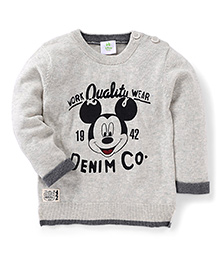 Fox Baby Full Sleeves Sweatshirt Mickey Mouse Design - Grey