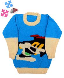 GoCuddle By Jasleen Cartoon Sweater For Boys - Blue