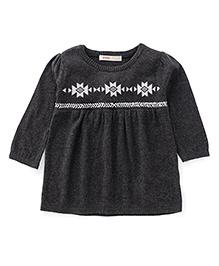 Fox Baby Long Sleeves Designer Winter Wear Top - Black