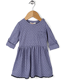 Fox Baby Full Sleeves Regular Neck  Cotton Frock With Floral Print - Blue