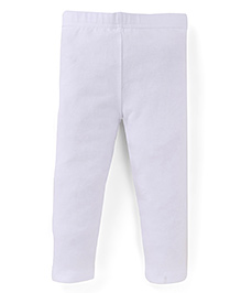 Fox Baby Full Length Plain Solid Color Leggings - White