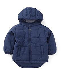 Fox Baby Full Sleeves Hooded Nylon Jacket - Dark Navy