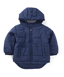 Fox Baby Full Sleeves Hooded Nylon Jacket - Dark Navy