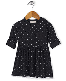 Fox Baby Full Sleeves Regular Neck  Cotton Frock With Floral Print - Black