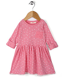 Fox Baby Full Sleeves Regular Neck  Cotton Frock With Floral Print - Pink