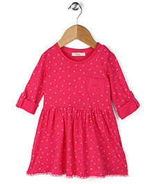 Fox Baby Full Sleeves Regular Neck  Cotton Frock With Floral Print - Fuchsia