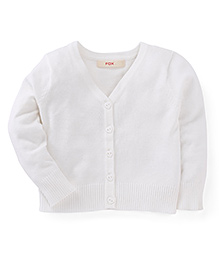 Fox Baby Full Sleeves Front Open Sweaters - Off White