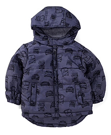 Fox Baby Full Sleeves Hooded Vehicle Printed Jacket - Blue