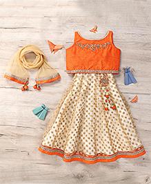 Ami Lehenga Set With Attachable Sleeves And Dupatta - Orange