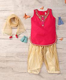 Ami Salwar Kurta Set With Attachable Sleeves And Dupatta - Pink