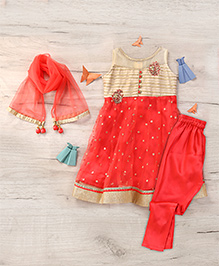Ami Salwar Kurta Set With Attachable Sleeves And Dupatta - Tomato Red