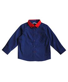 Campana Full Sleeves Plain Shirt - Navy Blue