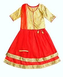 Campana Full Sleeves Choli Lehenga And Dupatta Set - Red