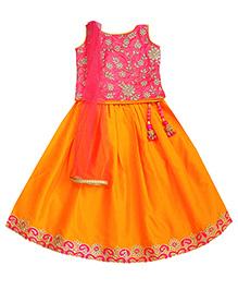 Campana Sleeveless Choli Lehenga And Dupatta Set - Pink & Yellow