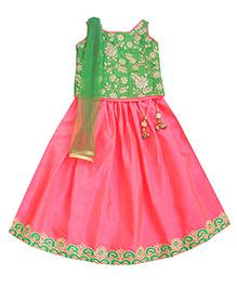 Campana Sleeveless Choli Lehenga And Dupatta Set - Pink & Green