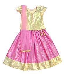Campana Cap Sleeves Choli Lehenga And Dupatta Set - Lavender & Gold