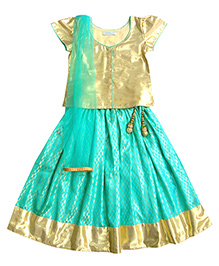 Campana Cap Sleeves Choli Lehenga And Dupatta Set - Sea Green & Gold