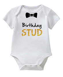 Chota Packet Short Sleeves Onesie Birthday Stud Print - White