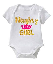 Chota Packet Short Sleeves Onesie Naughty Print - White & Pink