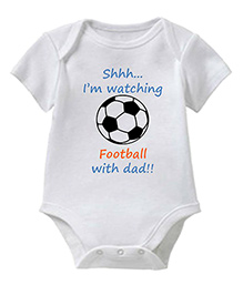 Chota Packet Half Sleeves Onesie Football Print - White