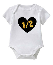 Chota Packet Short Sleeves Onesie Heart Print - White