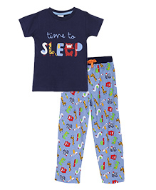 FS Mini Klub Half Sleeves T-Shirt And Pajama Set - Blue