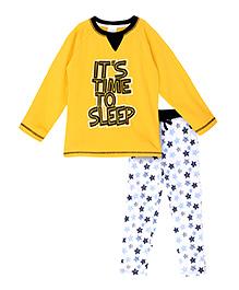 FS Mini Klub Full Sleeves Printed T-Shirt And Leggings - Yellow & White