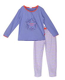 FS Mini Klub Full Sleeves Star Print Tee And Stripes Pant - Purplish Blue