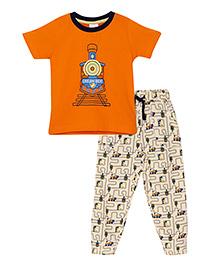 FS Mini Klub Half Sleeves Engine Print T-Shirt And Pants - Orange & Off White