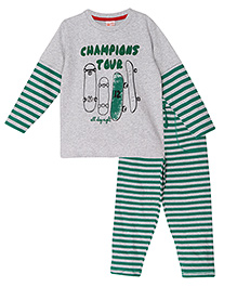 FS Mini Klub Doctor Sleeves Printed T-Shirt And  Stripes Pant - Grey & Green