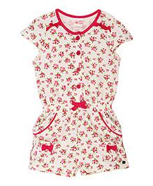 FS Mini Klub Cap Sleeves Printed Jumpsuit - Red Pink Off White