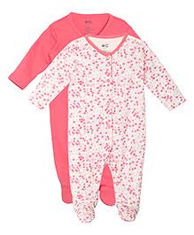 FS Mini Klub Full Sleeves Printed Sleepsuits Pack Of 2 - Pink & White