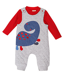 FS Mini Klub Dungaree With Full Sleeves T-Shirt - Red And Grey