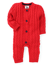 Yellow Apple Full Sleeves Winter Wear Onesie - Red