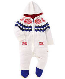 Yellow Apple Hooded Footed Winter Wear Romper - White