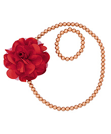 Miss Diva Elegant Flower With Beads Necklace & Bracelet Set - Red
