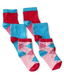 Mustang Multi Design Socks Set Of 3 - Pink Teal Blue Fuschia