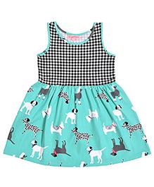 Crayonflakes Dress With Check Yoke & Animal Print - Black & Sea Green