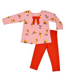 Crayonflakes Cartoon Print Tee & Pajama Set - Pink & Red