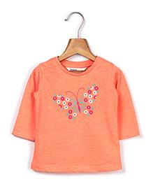 Beebay Full Sleeves Butterfly Embroidery - Orange